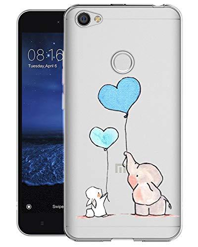 Caler ® Funda Compatible/Reemplazo para Xiaomi Redmi Note 5A Funda, Suave TPU Gel Silicona Ultra-Delgado Ligera Anti-rasguños Carcasa Dibujos Animal Lindo Protección (Conejo Elefante Globo)
