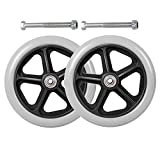 GRXJ Pack of 2 Wheelchair Caster Wheels Solid Front Wheelchair Wheel 6-8 Inch Wheelchair Front Wheels Replacement Parts for Wheelchairs Rollators Walkers