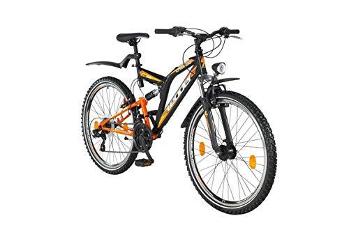 tretwerk DIREKT gute Räder Mountainbike Leader Chicago Street ATB 26 Zoll Schwarz/Orange, Jugend-Fahrrad, Herren-Fahrrad