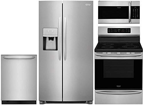 """Frigidaire 4-Piece Kitchen Appliance Package with FGSS2335TF 33"""" Side by Side Refrigerator FGIF3036TF 30"""" Freestanding Induction Range FGMV176NTF 30"""" Over-the-Range Microwave and FGID2476SF 24"""" Fully Integrated Dishwasher in Stainless Steel"""