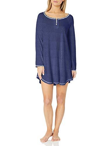 Karen Neuburger Women's Long Sleeve Nightshirt Nightgown Pajama Dress Pj, Foulard Navy, Large