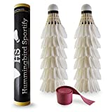 White Goose Feather Badminton Shuttlecocks 12-Pack - Advanced Feather Birdies with Cork Ball Head for Speed,...