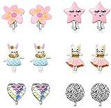 PowerKing Ohrclips für Mädchen, Mädchenschmuck-Anziehohrringe und Prinzessin Play Ohrclips für...