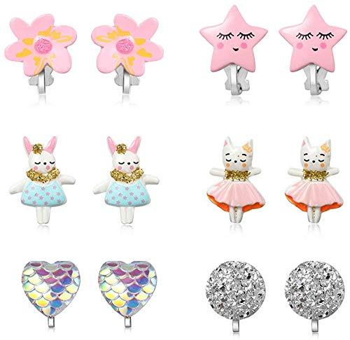 PowerKing Ohrclips für Mädchen, Mädchenschmuck-Anziehohrringe und Prinzessin Play Ohrclips für Kinder, 6 Paare (Kaninchen Ohrring)