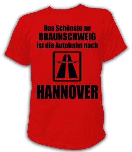 Artdiktat T-Shirt Anti Braunschweig T-Shirt Unisex, Größe XXL, rot