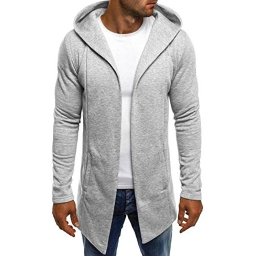 Mens Hooded Splicing Solid Trench Cardigan Coat Long Sleeve Jacket Outwear Hoodie with Pockets (M, Gray)
