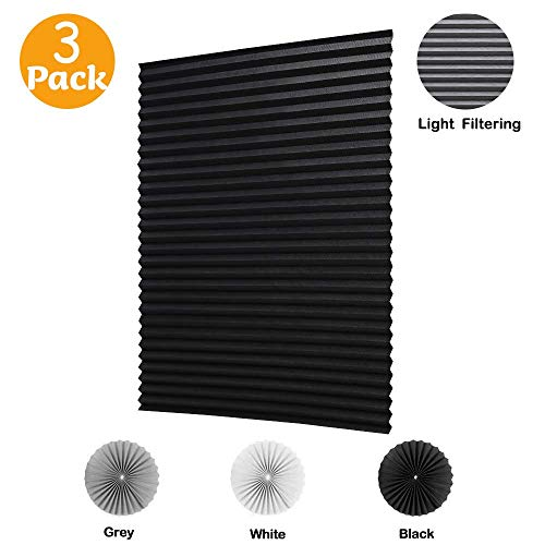 LUCKUP 3 Pack Cordless Light Filtering Pleated Fabric Shade,Easy to Cut and Install, with 6 Clips (48'x72' - 3 Pack, Black)
