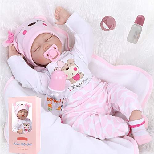 antboat 22 Zoll 55cm Lebensechte Reborn Baby Puppen Mädchen Reborn Baby Silikon Weiches Silikon Neugeborenes Babyspielzeug Reborn Toddler Doll