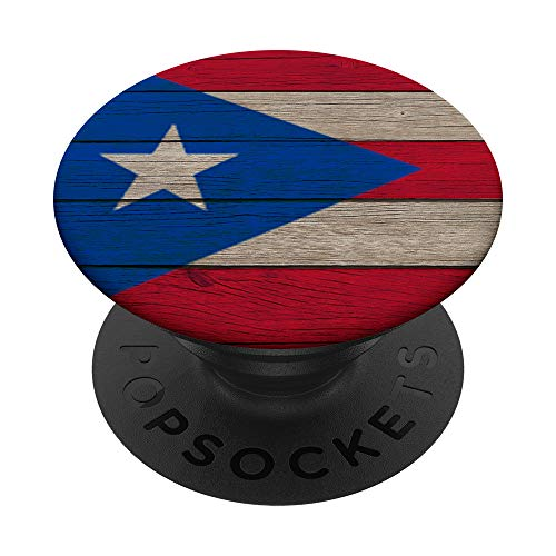 Bandera de Puerto Rico En Madera Vintage Puerto Rico Flag PopSockets Grip and Stand for Phones and Tablets