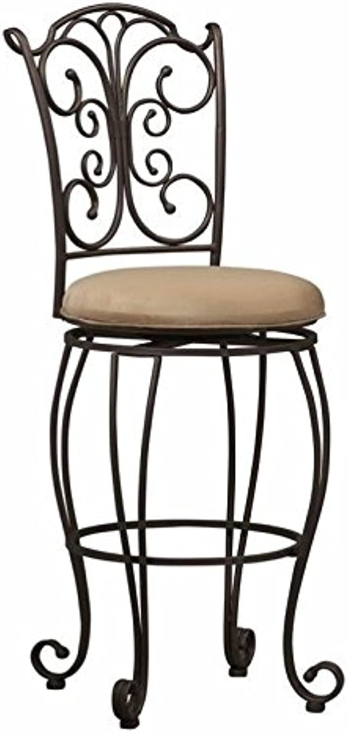 Pemberly Row 30  Swivel Bar Stool in Light Brown and Caramel