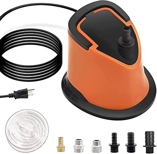Bomba de cubierta de piscina, bomba de agua sumergible de 1100 gph, filtro inferior ajustable,protección de sobrecalentamiento automático,6 adaptadores de manguera,cable de alimentación extra larga