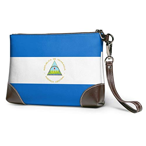 Ahdyr Carteras de mano de cuero para mujer Carteras de embrague para teléfono Bandera de Nicaragua Cartera pequeña de cuero Cartera de mano