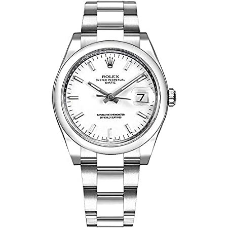 Fashion Shopping Women's Rolex Oyster Perpetual Date 34 White Dial Luxury Watch Ref. 115200