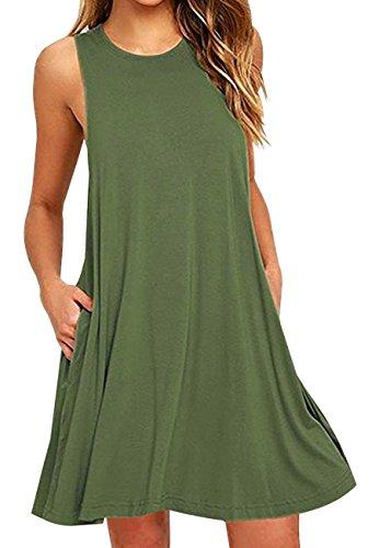 OMZIN Damen Ohne Arm Vest Kleid mit Taschen T-Shirtkleid Rund Ausschnitt Tägershirt, L, Tasche-armeegrün