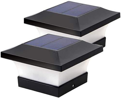 Lampade a LED solari da giardino, impermeabili, quadrate, colore nero, per pali in legno 4 x 4, ponti, terrazze, recinzioni 6000 K, 2 pezzi