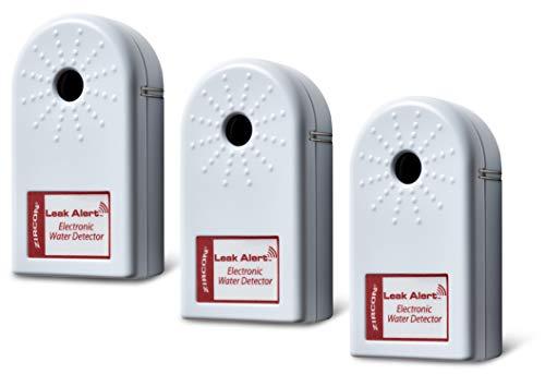 Detector de fugas de agua con alarma de zircon y sensor de inundación/sensor de fugas de agua con doble alarma de fugas, 3 Pack, 3