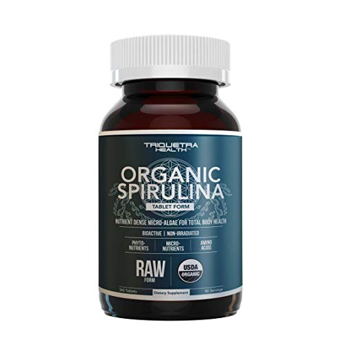 Organic Spirulina Tablets (360 Tablets) - Made with Parry® Spirulina, The Best Spirulina in The World, Highest Nutrient Density - Non-Irradiated, 4 Organic Certifications (90 Servings)