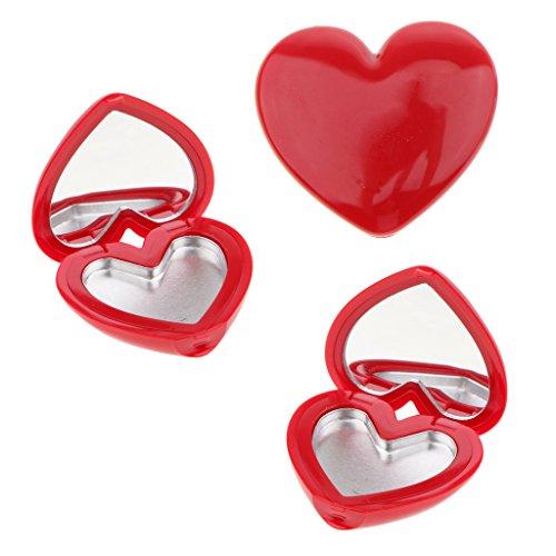 Sharplace Cas/Boîte de Maquillage Vide avec Miroir en Plastique et Aluminium Miroir de Poche Organisateur de Fard à Joues, Poudre Fard à Paupières 4 Couleurs - rouge, 4 x 4,5 x 1 cm