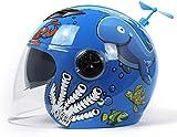 QDY - Casco de Moto para niños, Bonito Casco de Moto de Dibujos Animados, Parasol, Gafas Dobles, cómodo y Transpirable con Forro Interior, Casco Integral para niño niña de 3 a 6,4 años