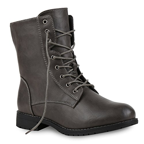 Damen Schnürstiefeletten Profilsohle Boots Camouflage Stiefeletten Leder-Optik Schnür Übergrößen Schuhe 121965 Grau Camargo 39 Flandell