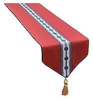 ホームダイニングのテーブル ランナー、家の装飾 Table Mat ホームキッチンテーブルランナーダマスク効果氷河テーブルランナーエレガントなタッセルスパンコールラインストーンはクラシックテーブルランナー契約します 美しく、リラックスできる住まい LLNN (Color : Red, Size : 34x220cm)