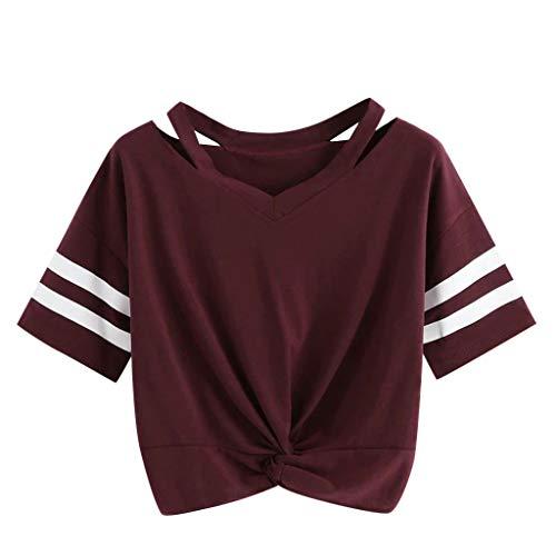 Oberteile Frauen Sommer, Ulanda Teenager Mädchen Mode Crop Top Sport V-Ausschnitt Shirt Bluse Damen Casual Rose Stickerei Kurzarm T-Shirts Hemd Tops Pullover