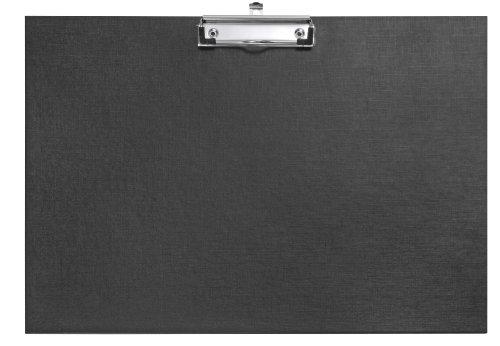 Veloflex 4812980 Schreibplatte A3 quer, Klemmbrett, Clipboard, PP kaschiert mit Leinenstruktur, Hängeöse, schwarz