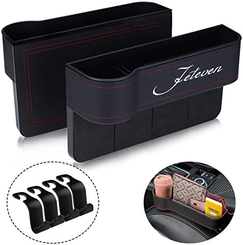 Jeteven 2Pcs Auto Aufbewahrungsbox, PU Leder Universal Auto Seat Gap Organizer, Autositzfüller Vordersitzfüller Multifunktionsaufbewahrung, für Handys Brieftaschen Schlüssel Sonnenbrillen(Schwarz)