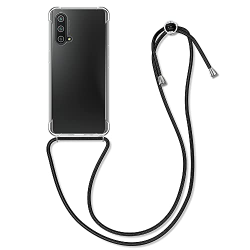 kwmobile Necklace Hülle kompatibel mit OnePlus Nord CE 5G - Hülle Silikon mit Handykette - Band Handyhülle Transparent Schwarz