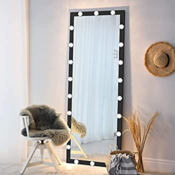 ANYHI Large Full Length Mirror with Lights Standing Floor Mirror Full Body Mirror with 22 Dimmable Bulbs Wall-Mounted and Standing  Black 63   x 24