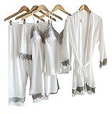Laura Lily - Pijamas Mujer de Satén Sedoso Color Liso con Encaje Conjunto de 5 Piezas (Blanco, XS-S)