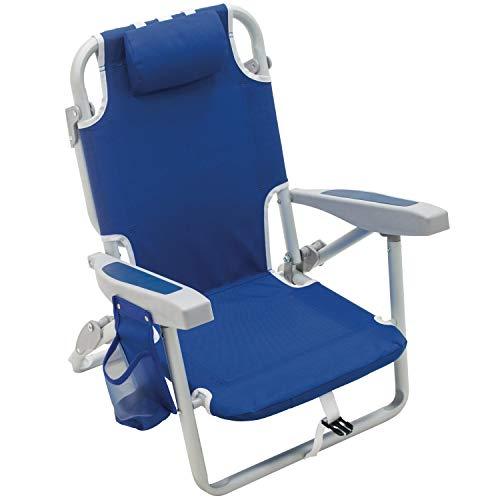 "Rio Gear Beach Kid's 5-Position Lay Flat Backpack Folding Beach Chair, Blue, 7"""