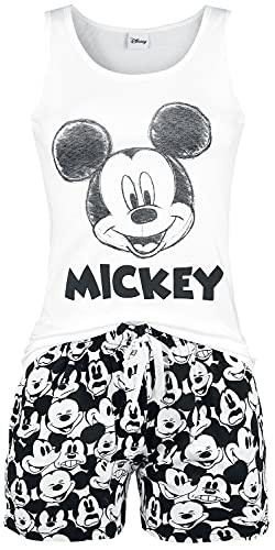 Micky Maus Face Frauen Schlafanzug weiß/schwarz S