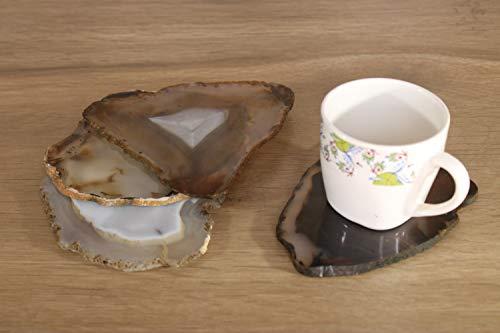 eSplanade - Posavasos de ágata natural para bar, cerveza, café, té, juego de 4 posavasos, accesorios de mesa perfectos (gris natural)