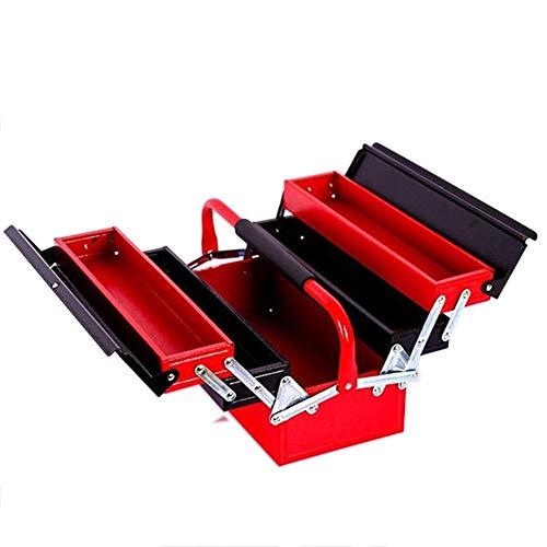 Werkzeugkasten Drei Etagen Eisen Tool Box Portable Folding Hardware Toolbox Haushalt Wartung Elektriker Anti-Sturz-Werkzeugkoffer Werkzeugkasten mit Werkzeugen (Color : Red)