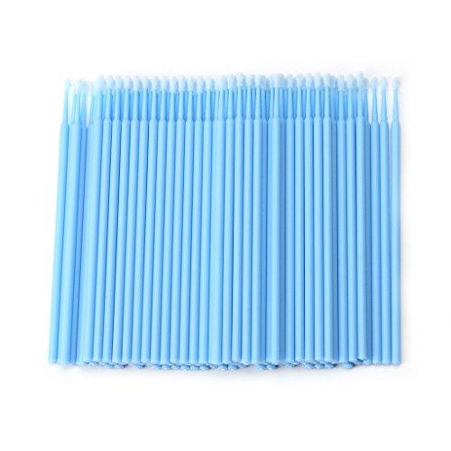 Junlinto 100Pcs Cils Individuels Jetables Suppression De Micro Brosses Extension De Cils Outils Lilght Bleu