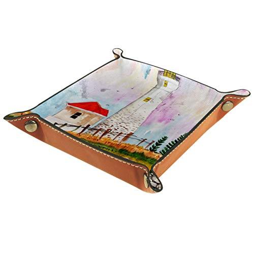 Wasserfarbener, Leuchtturm-Leder-Schmucktablett für Schlüssel, Telefon, Münzen, Uhren, Schmuck, Organizer, Catchall Valet Tidy Trays