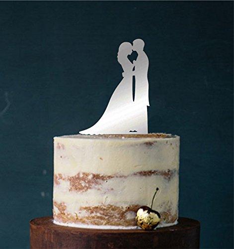 edelstahlheini.de Cake Topper, Tortenstecker, Tortenfigur Acryl, Tortenständer Etagere Hochzeit Hochzeitstorte (Silber/Spiegel (Einseitig)) Art.Nr. 5222