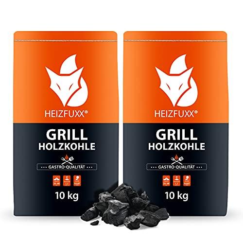 HEIZFUXX Grillkohle Holzkohle Buchenholzkohle Hartholz Buche BBQ Gastro Kohle Restaurant Steakhouse Grill Smoker 10kg x 2 Sack 20kg / 1 Karton Paligo