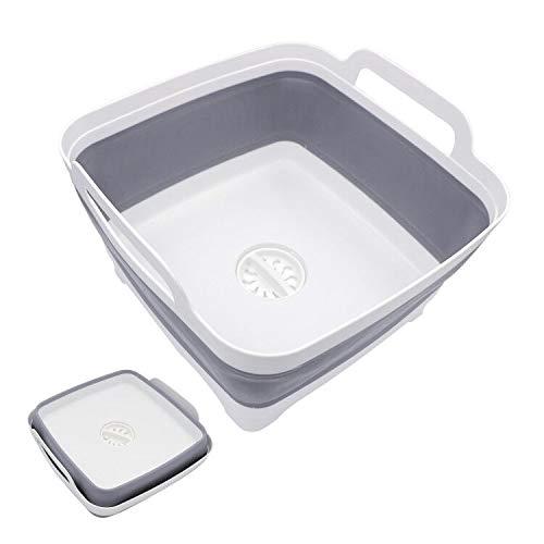 Hiveseen洗い桶折りたたみ洗いおけ洗いかごキッチン水切りかご排水プラグが付くコンパクトシリコン取っ手付アウトドア用途いろいろ