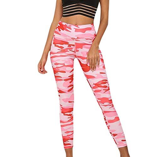 QIMANZI Sporthose Damen Sport Camouflage Leggings Mesh Camo Leggins Bunt Jogginghose Capris Jogger Fitnesshose Sweathose(Pink,L)