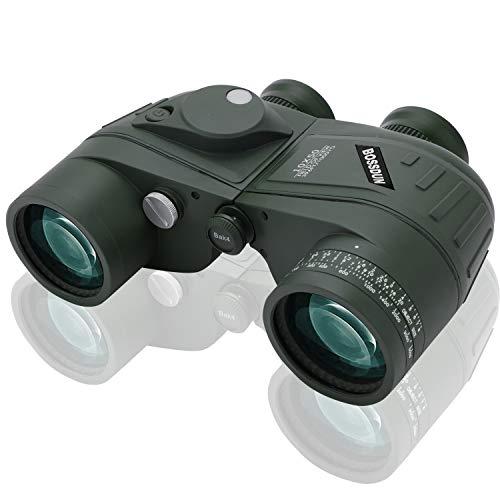 Marinos 10X50 Prismaticos, con Vision Nocturna Telémetro Brújula IPX7 100% Impermeable BAK4 Prisma Binoculares por Caza Marina, Pesca, Observación de Aves para Adultos Niños