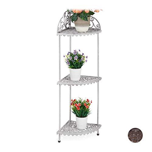 Relaxdays Eckregal, 3 Ablagen, Pflanzen, Blumen, Deko, Gusseisen, Vintage-Design, antik, HxBxT 106 x 42 x 31 cm, weiß, 1 Stück