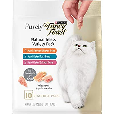 Purina Fancy Feast Natural Cat Treats Variety Pack, Purely Natural - (5) 10 ct. Pouches