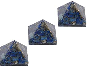 Aatm Energy Generator Lapis Lazuli Orgone Pyramid for EMF Protection Chakra Healing Meditation with Copper (Set of 3 and Size - 1 and 1 Inches)