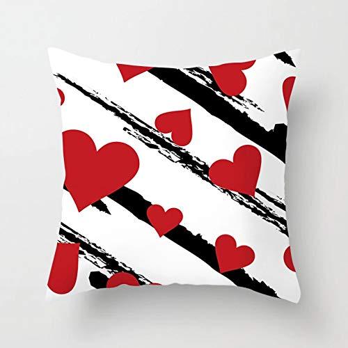 OEWFM Fundas de colchón Funda de cojín Decorativa con Estampado de Labios Rojos de Amor de corazón, Funda de cojín de poliéster, Funda de Almohada Decorativa para sofá
