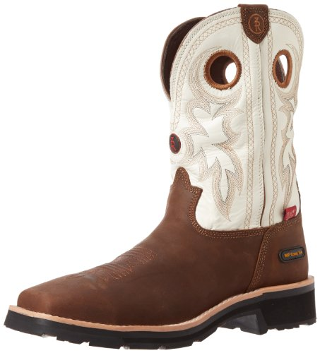 Tony Lama Men's Work RR3302-M, Bark Cheyenne/Pure White Chaparral, 8 D US
