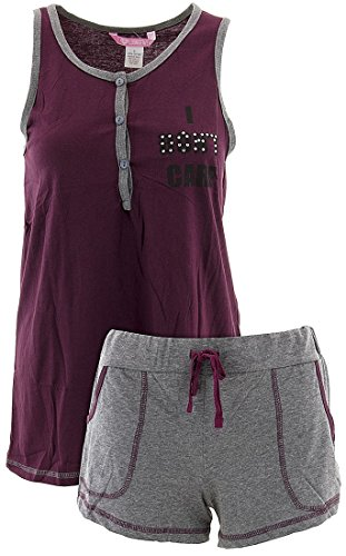 Love Loungewear Juniors Don't Care Berry Shorty Pajamas S