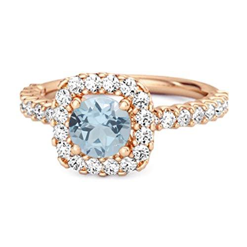 Shine Jewel Multi Elija su Piedra Preciosa Anillo de halo Chapado en Oro Rosa de Plata esterlina 925 de 0.25 Ctw para Regalo de Princesa (10, topacio Azul Cielo)
