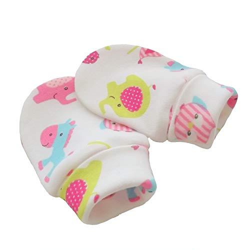 Coton bio tricot tissu nouveau-né anti-rayures moufles mitaines gants bébé, éléphants multicolores (0-3 mois)